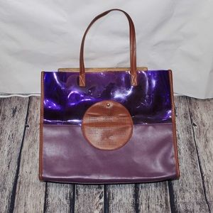 Tory Burch Large Purple & Brown Tote Bag